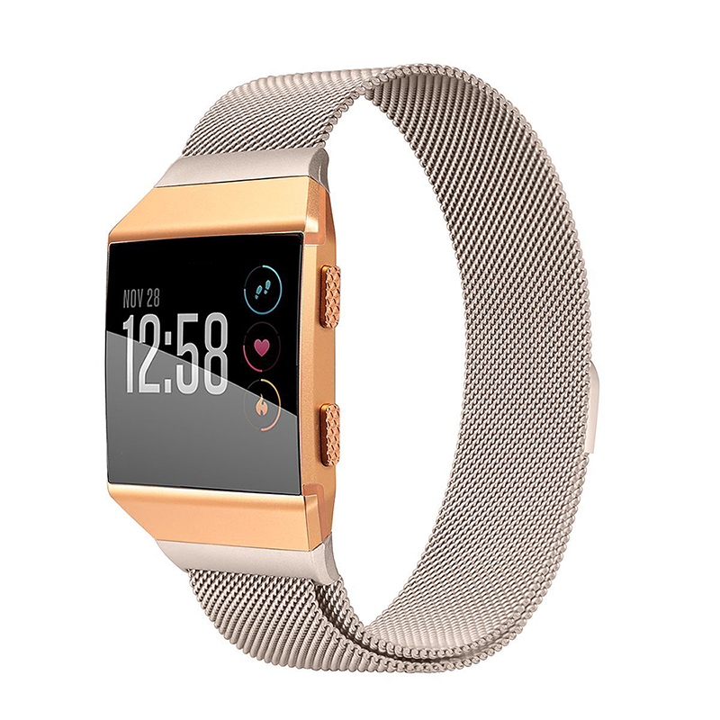 Milanese Stainless Steel Mesh Replacement Watchband Wrist Strap for Fitbit Ionic Size L - Gold