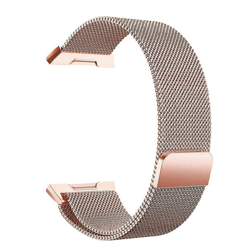 Milanese Stainless Steel Mesh Replacement Watchband Wrist Strap for Fitbit Ionic Size L - Rose Gold