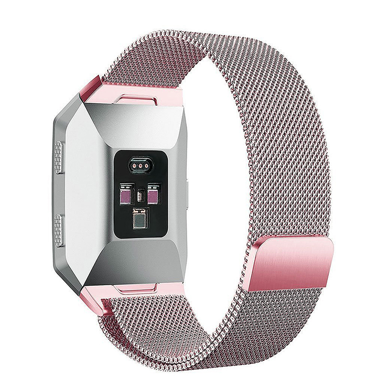 Milanese Stainless Steel Mesh Replacement Watchband Wrist Strap for Fitbit Ionic Size L - Rose Pink