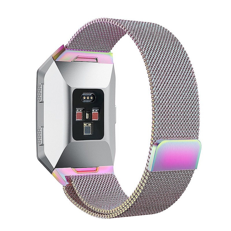 Milanese Stainless Steel Mesh Replacement Watchband Wrist Strap for Fitbit Ionic Size L - Colorful