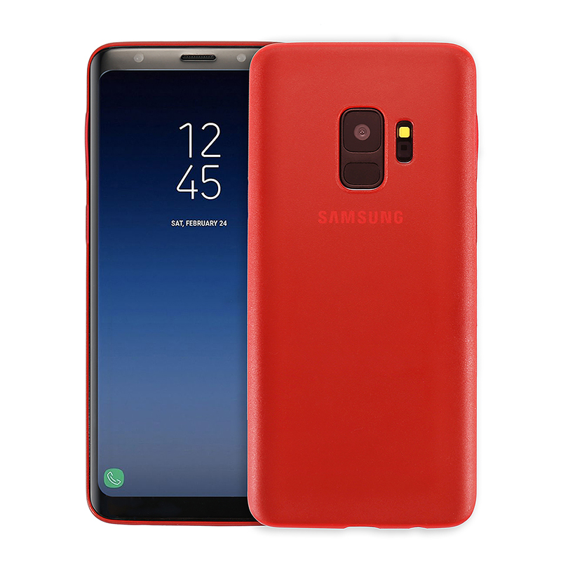 Ultra Thin Frosted PC Hard Protective Case Back Cover Shell for Samsung S9 - Red