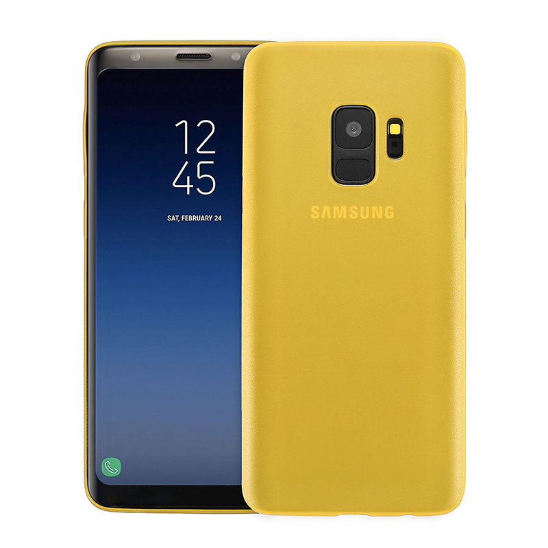 Ultra Thin Frosted PC Hard Protective Case Back Cover Shell for Samsung S9 - Yellow