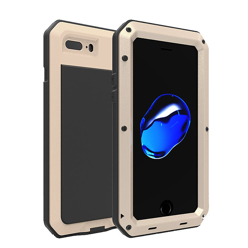 Full Body Shockproof Anti-Skid Metal Armor Case Cover Shell for iPhone 7/8 Plus - Golden