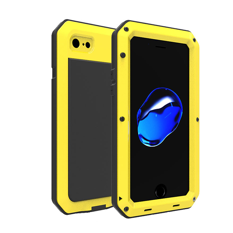 Metal Armor Full Body Shockproof Rubber Anti-skid Protective Case Cover for iPhone 7/8 - Yellow