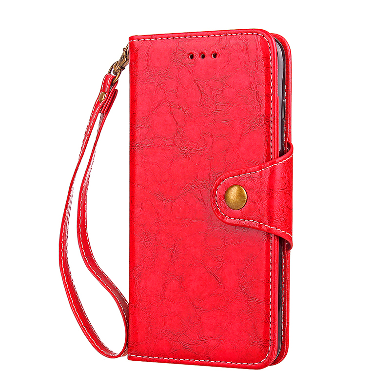 Flip Stand Vintage Shockproof PU Leather Wallet Case Cover for Samsung Note 8 - Red