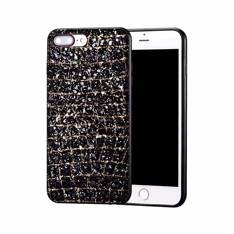 Bling Glitter 3D Diamond Soft TPU Shockproof Case Back Cover for iPhone 7/8 Plus - Black Gold