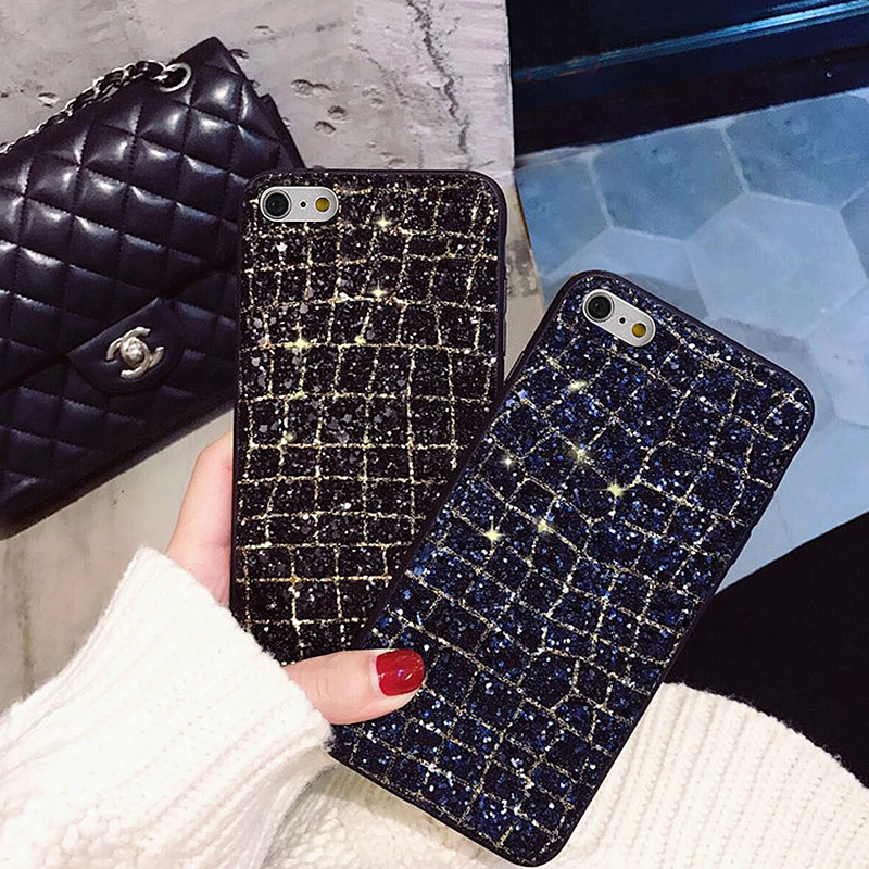 Luxury Glitter Bling 3D Diamond Soft Flexible TPU Protective Case Cover for iPhone 6/6S Plus - Black Gold