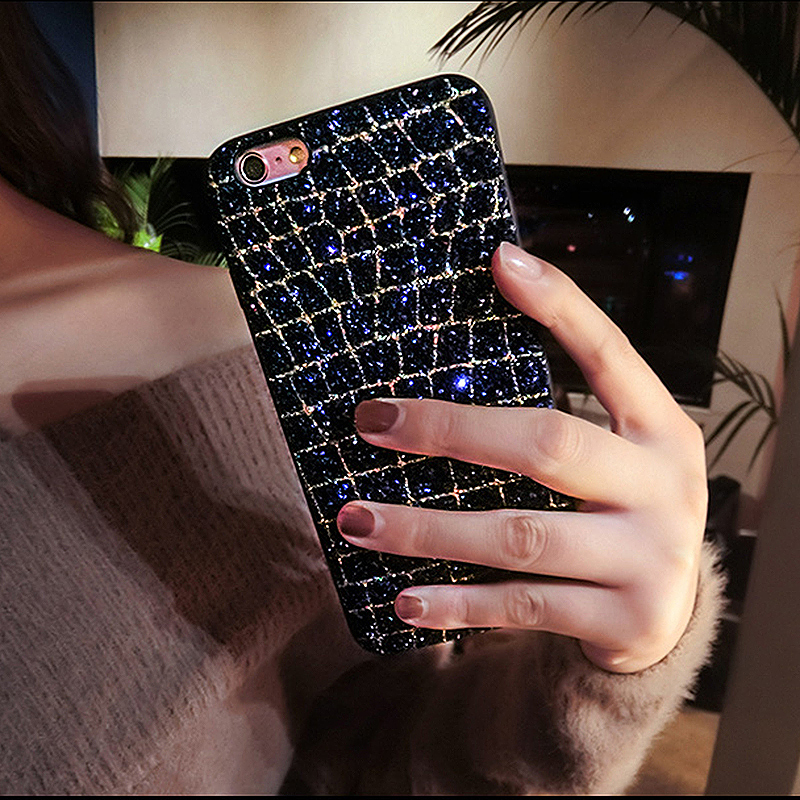 iPhone 6/6S Luxury Fashion Bling Diamond Case Soft TPU Shockproof Back Cover - Blue Gold