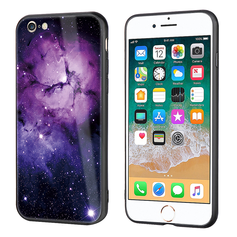 Ultra Slim Tempered Glass Pattern Back Soft TPU Bumper Case Back Cover for iPhone 6/6S Plus - Purple