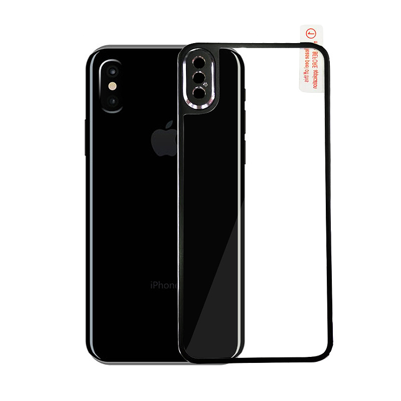 9H Hardness Shockproof 3D Metal Back Tempered Glass Protector Guard for iPhone X/XS - Black