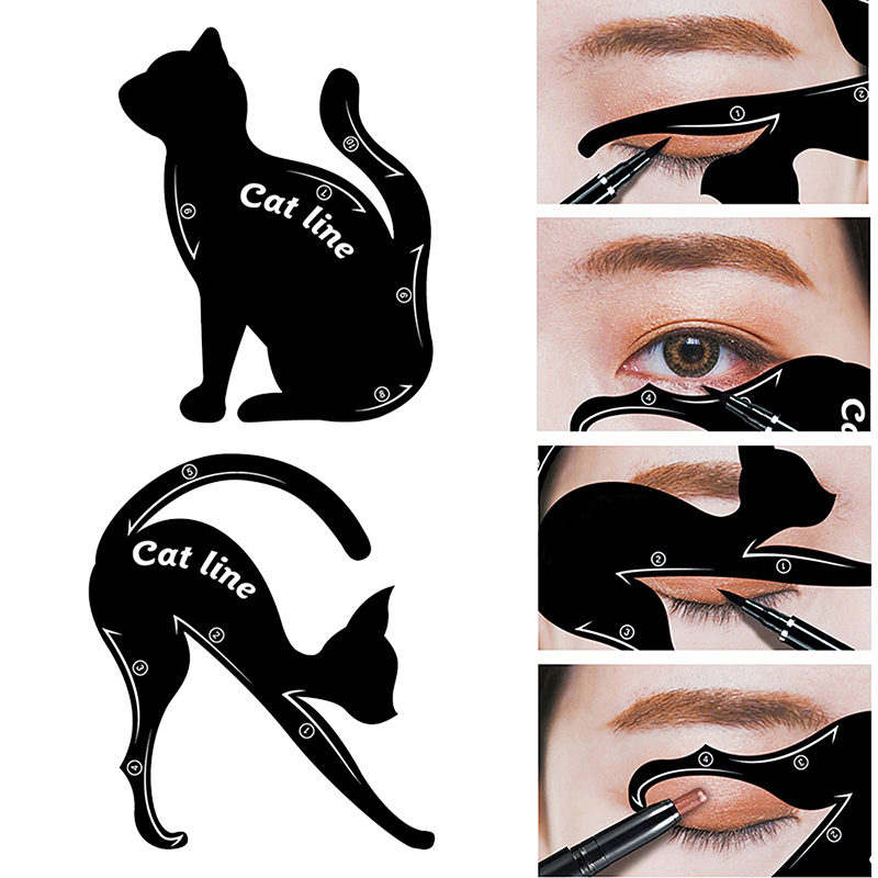2PCs Cat Line Eyeliner Stencils Pro Eyeline Eye Shadow Model Makeup Tool