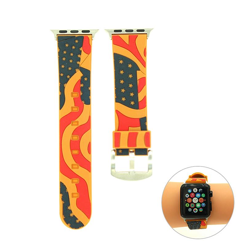 38mm Apple Watch Replacement Watchband Vintage Soft Silicon Sports Watch Wrist Strap - Orange
