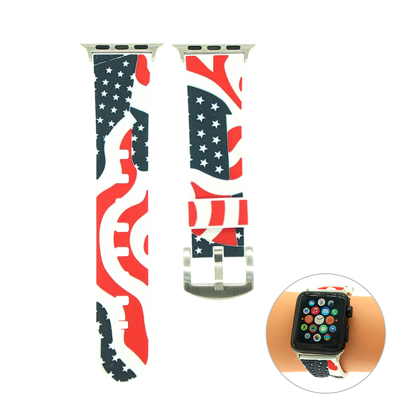 38mm Apple Watch Replacement Watchband Vintage Soft Silicon Sports Watch Wrist Strap - White