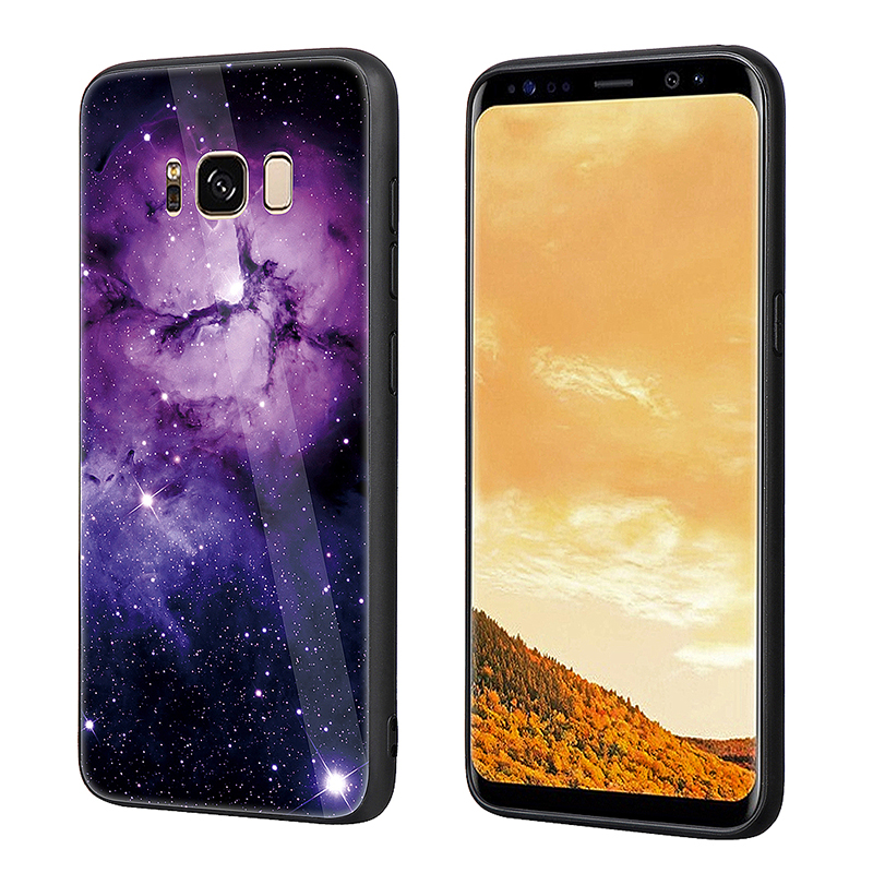 Samsung S8 Tempered Glass Hard Back TPU Bumper Shockproof Case Back Cover - Purple
