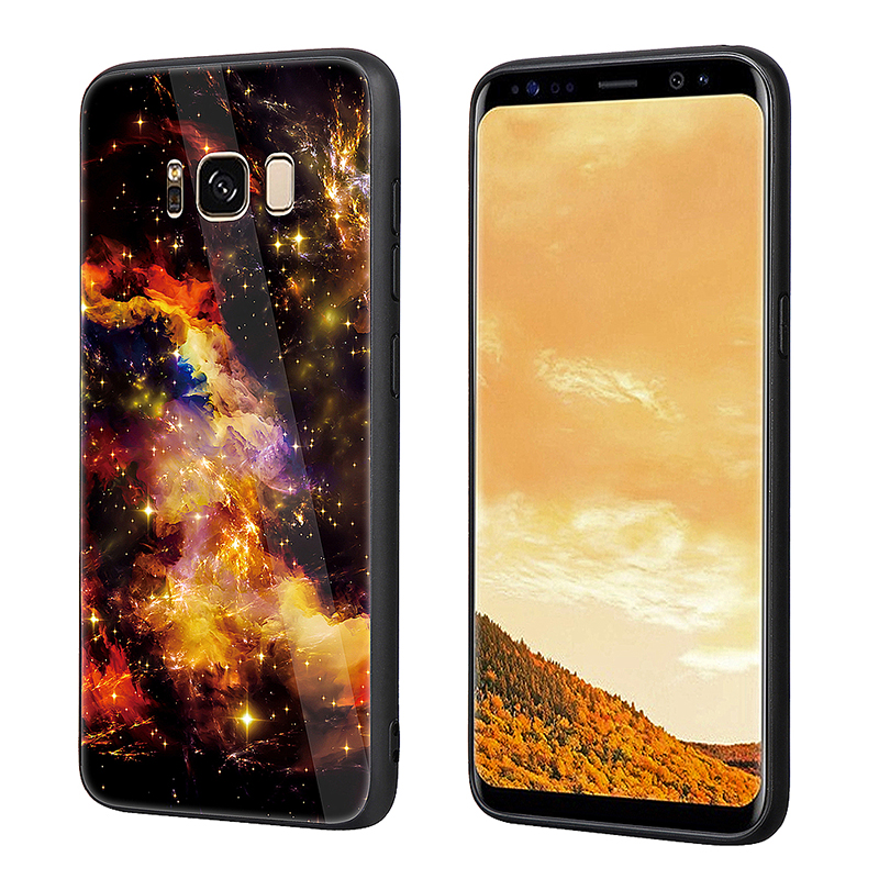 Slim Shockproof Hard Tempered Glass Back TPU Bump Protection Case Cover for Samsung S8 Plus - Yellow