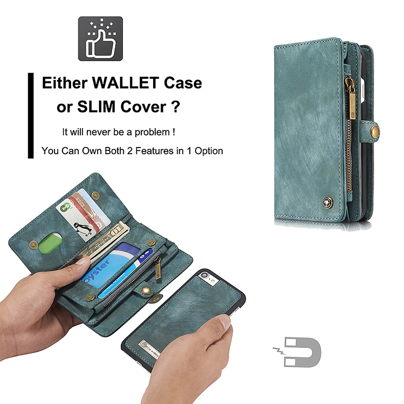 iPhone 7/8 Large Wallet Case Shockproof Soft Leather Flip Stand Cover Shell - Blue