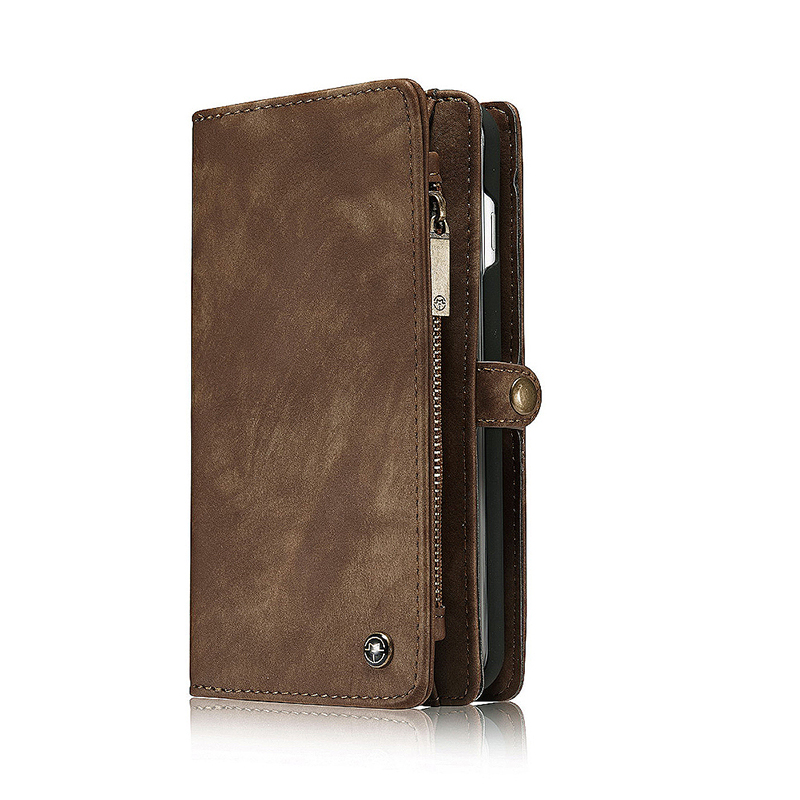 Samsung Note 8 Super Large Wallet Case Luxury Magnetic Genuine Leather Shockproof Cover - Brown