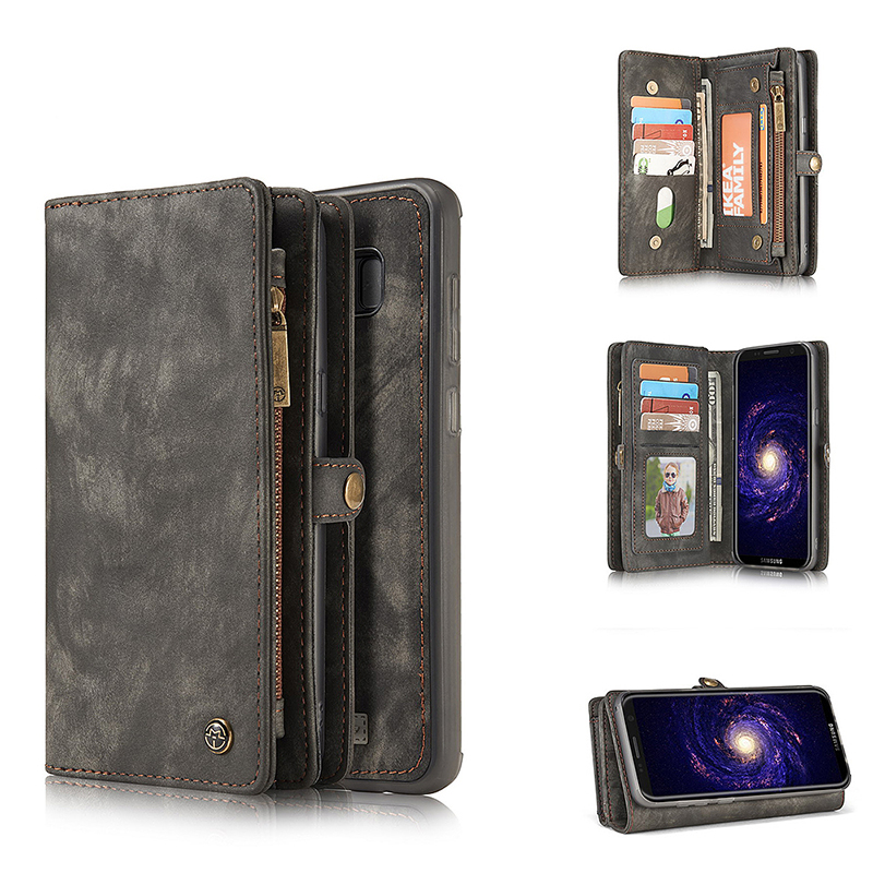 Luxury Genuine Leather Case Magnetic Flip Stand Wallet Cover for Samsung S8 Plus - Black