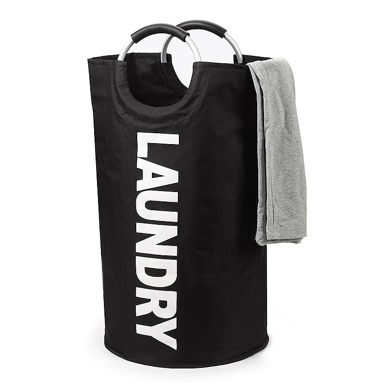 Collapsible Laundry Basket Large Foldable Waterproof Oxford Storage Hamper with Alloy Handles - Black