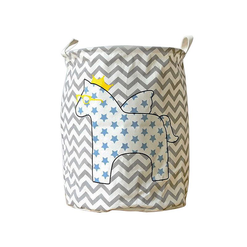40x50CM Cartoon Horse Laundry Basket Foldable Clothes Toys Organizer Storage Bag - Star Horse