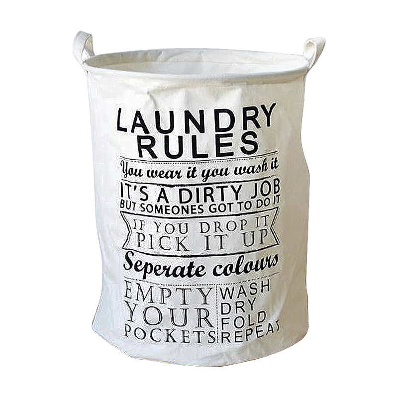 40x50CM Letter Printing Laundry Basket Foldable Large Storage Bins for Clothes Toys - LAUNDRY RULES