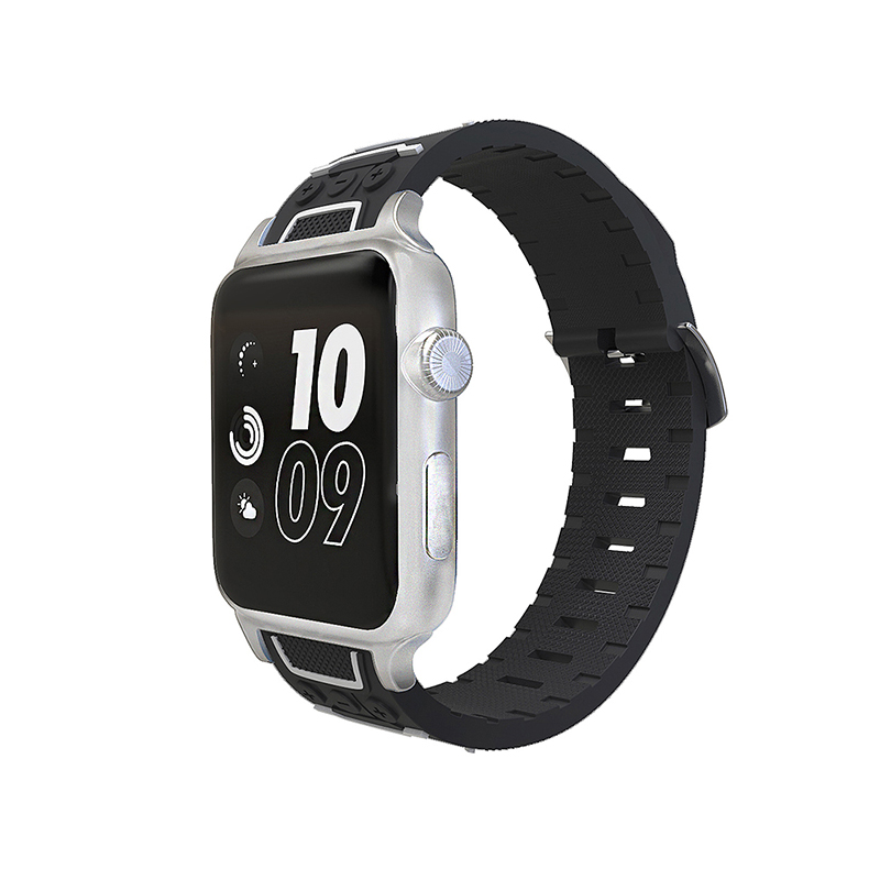 Apple Watch Band Silicone Sports Bracelet Strap 38mm Replace iWatch Band - Black + White