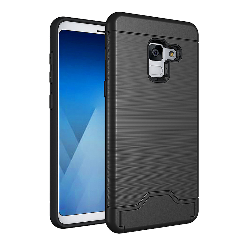 Hard Hybrid Back Phone Case Cover With Card Slot Kickstand Holder for Samsung A8 - Black