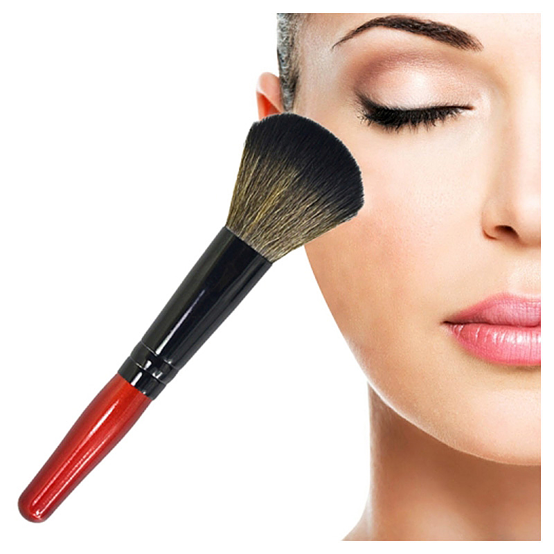 Soft Round Head Buffer Foundation Powder Blush Brush Makeup Tool with Wooden Handle - Red