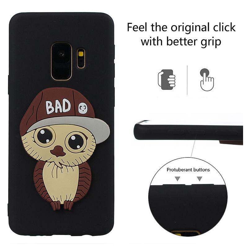 Samsung S9 3D Cartoon Owl TPU Case Soft Flexible Rubber Shockproof Back Cover - Black