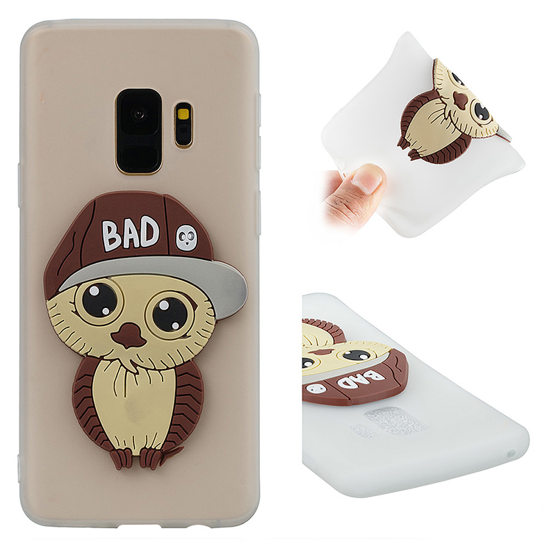 Samsung S9 3D Cartoon Owl TPU Case Soft Flexible Rubber Shockproof Back Cover - White