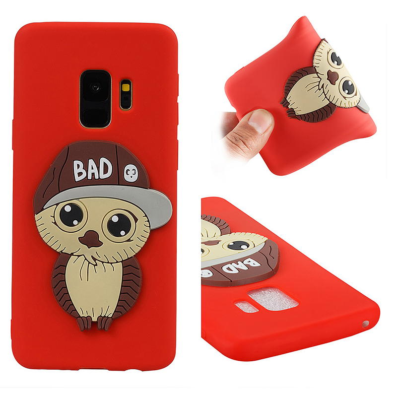 Samsung S9 3D Cartoon Owl TPU Case Soft Flexible Rubber Shockproof Back Cover - Red
