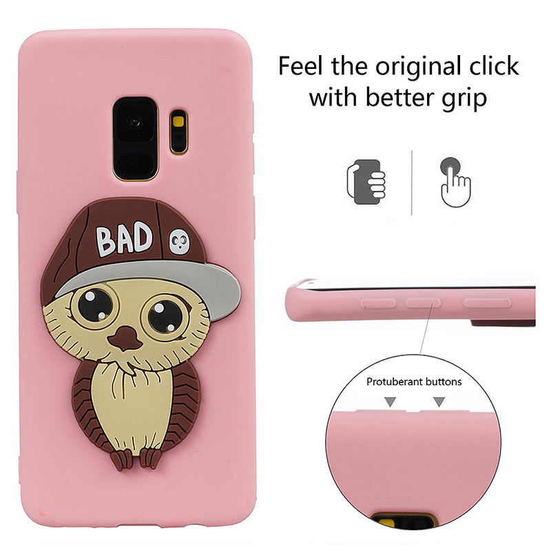 Samsung S9 3D Cartoon Owl TPU Case Soft Flexible Rubber Shockproof Back Cover - Pink