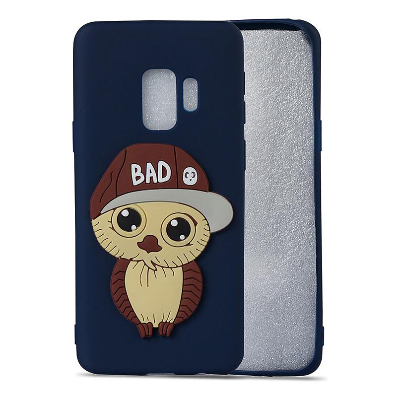 Samsung S9 3D Cartoon Owl TPU Case Soft Flexible Rubber Shockproof Back Cover - Navy Blue
