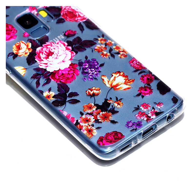 Pattern Crystal Clear TPU Case Ultra-slim Soft Gel Protective Back Cover for Samsung S9 - Flower