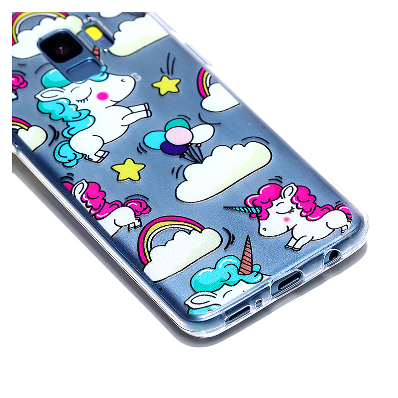 Pattern Crystal Clear TPU Case Ultra-slim Soft Gel Protective Back Cover for Samsung S9 - Unicorn