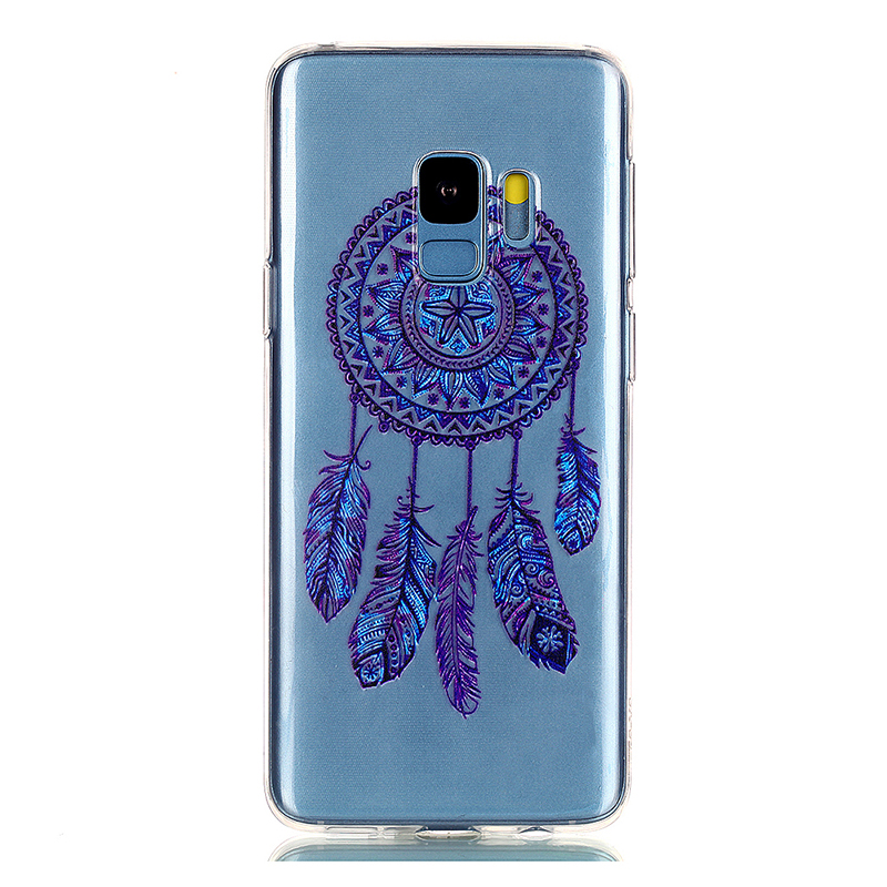Pattern Crystal Clear TPU Case Ultra-slim Soft Gel Protective Back Cover for Samsung S9 - Blue Bell