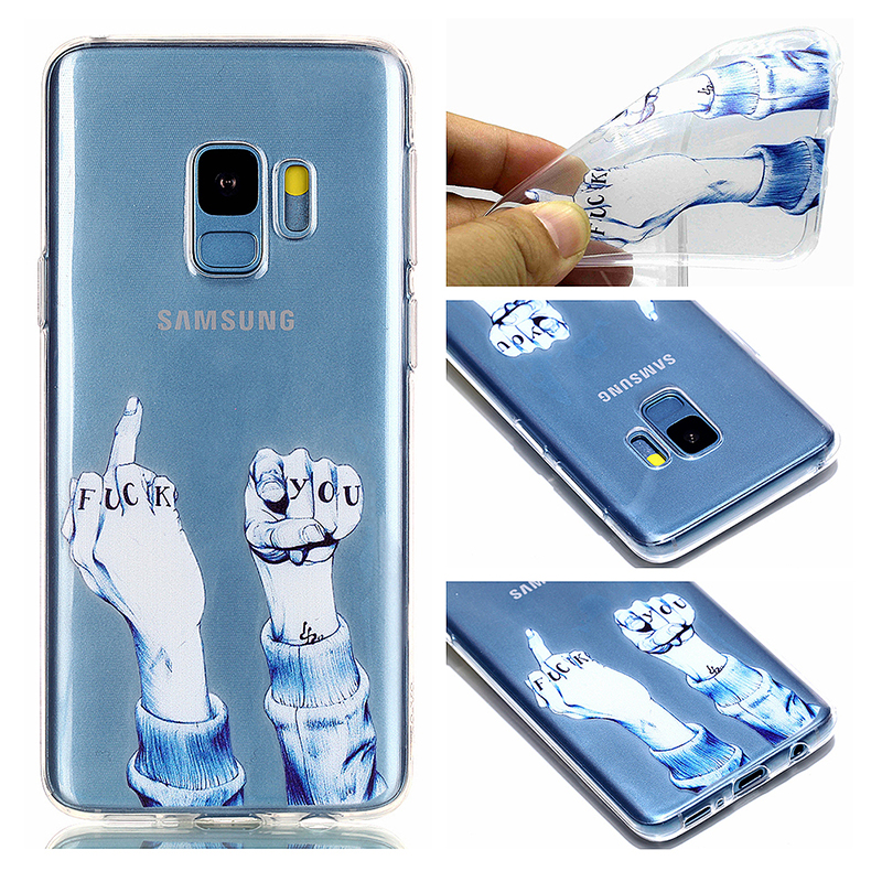 Pattern Crystal Clear TPU Case Ultra-slim Soft Gel Protective Back Cover for Samsung S9 - Finger