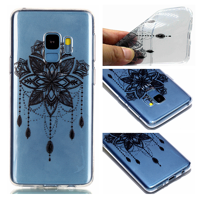 Pattern Crystal Clear TPU Case Ultra-slim Soft Gel Protective Back Cover for Samsung S9 - Bead Bell