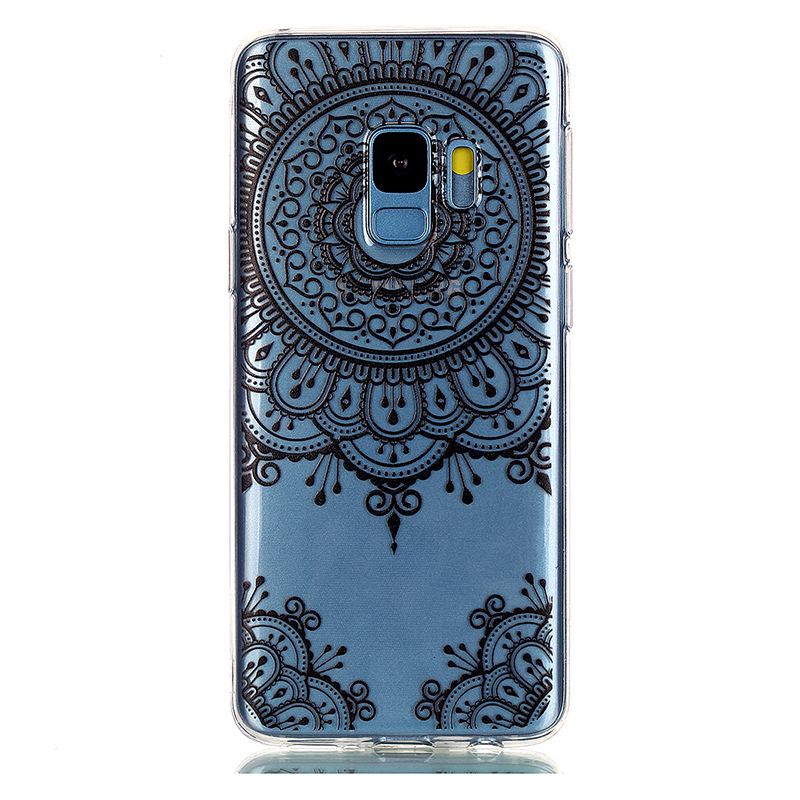 Pattern Crystal Clear TPU Case Ultra-slim Soft Gel Protective Back Cover for Samsung S9 - Black Totem