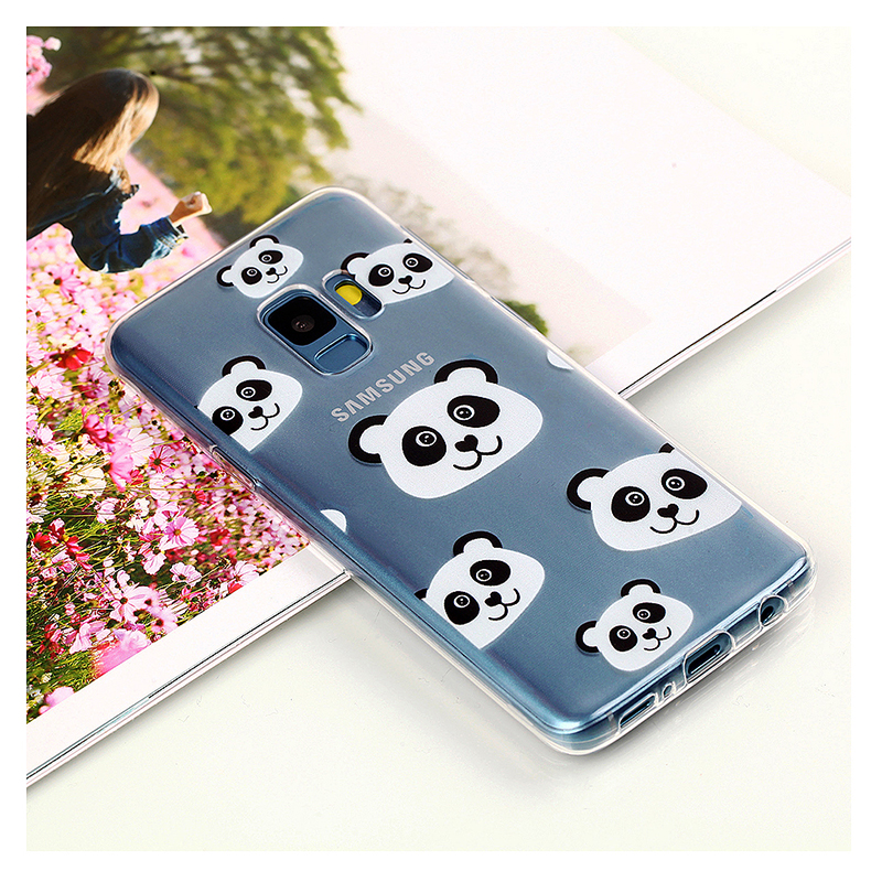 Pattern Crystal Clear TPU Case Ultra-slim Soft Gel Protective Back Cover for Samsung S9 - Panda