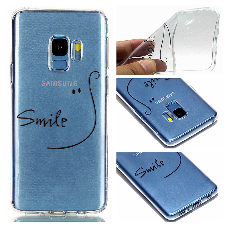 Pattern Crystal Clear TPU Case Ultra-slim Soft Gel Protective Back Cover for Samsung S9 - Smile