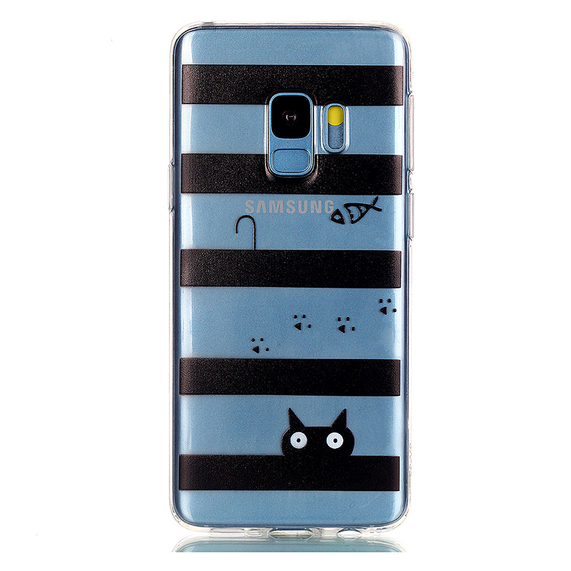 Pattern Crystal Clear TPU Case Ultra-slim Soft Gel Protective Back Cover for Samsung S9 - Tab Cat