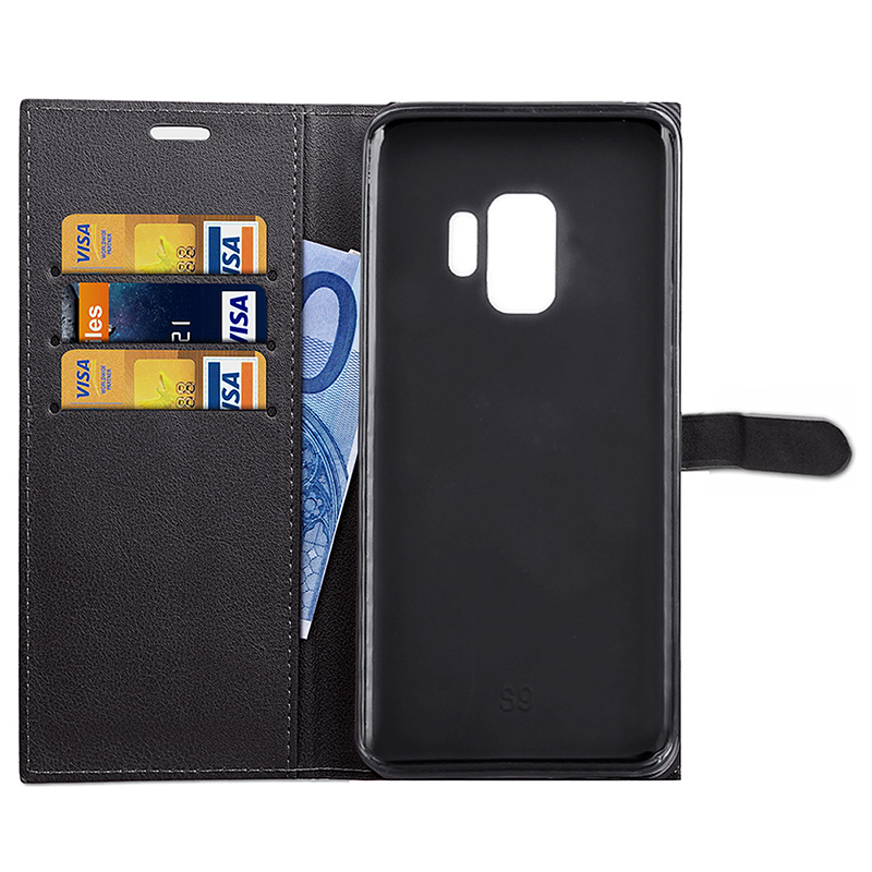 Samsung PU Leather Phone Cover Magnetic Protective Case with Card Slots Stand Holder for Samsung S9 - Black