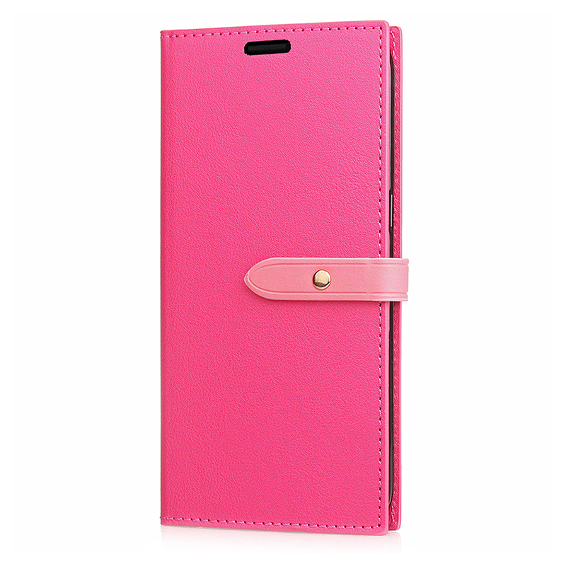Samsung PU Leather Phone Cover Magnetic Protective Case with Card Slots Stand Holder for Samsung S9 - Rose Red