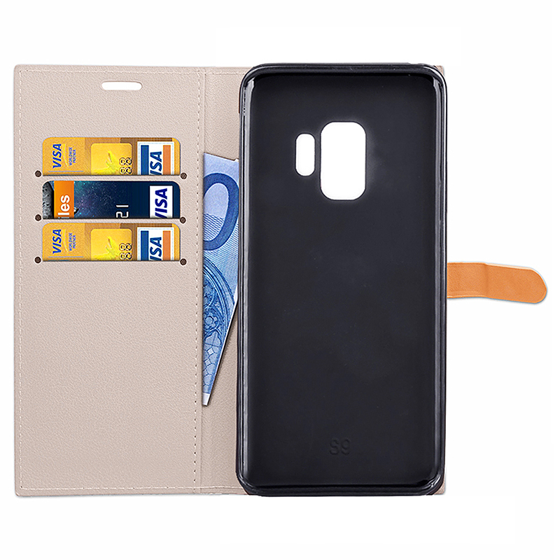 Samsung PU Leather Phone Cover Magnetic Protective Case with Card Slots Stand Holder for Samsung S9 - Gray