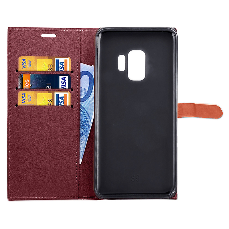 Samsung PU Leather Phone Cover Magnetic Protective Case with Card Slots Stand Holder for Samsung S9 - Red
