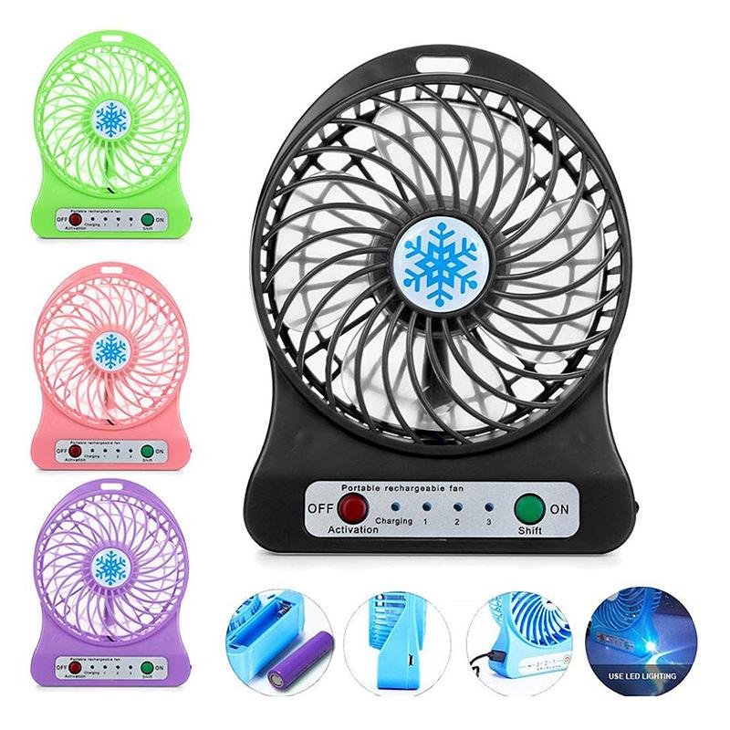 Mini Desktop USB Fan Portable Rechargeable Battery Air Cooler with LED Light - Black