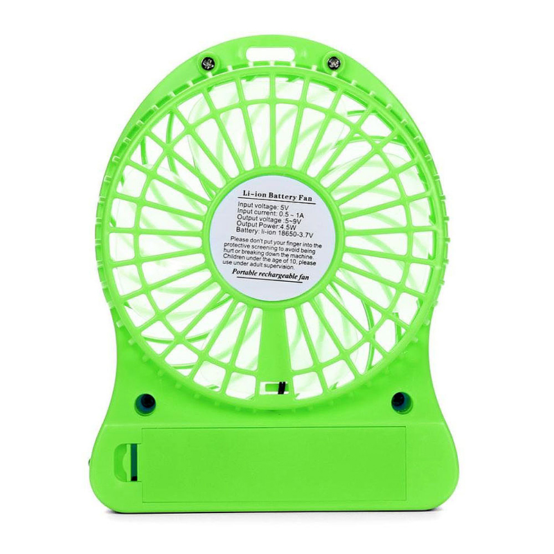 Mini Desktop USB Fan Portable Rechargeable Battery Air Cooler with LED Light - Green