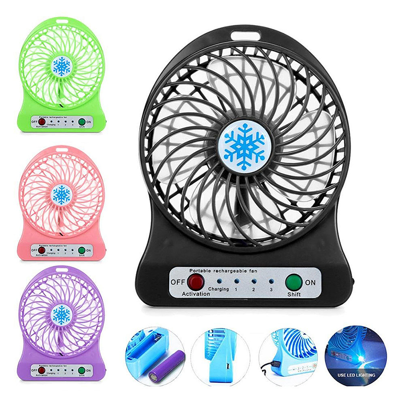 Mini Desktop USB Fan Portable Rechargeable Battery Air Cooler with LED Light - Purple