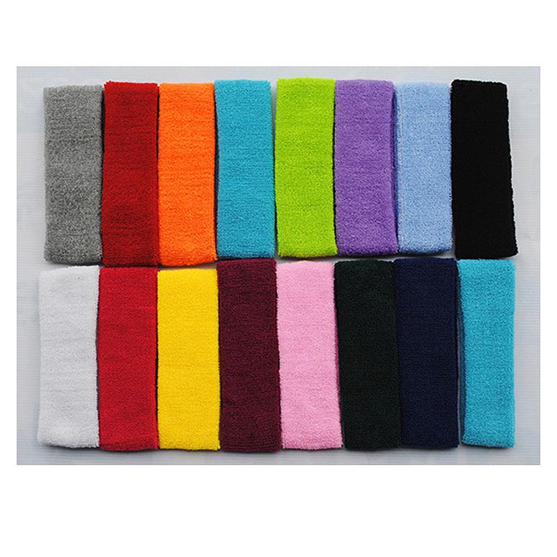 Unisex Sports Cotton Sweatband Headband Fashion Yoga Gym Stretch Hair Band - Black